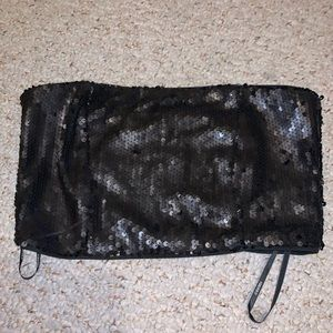 Matte black sequin tube top clubbing top